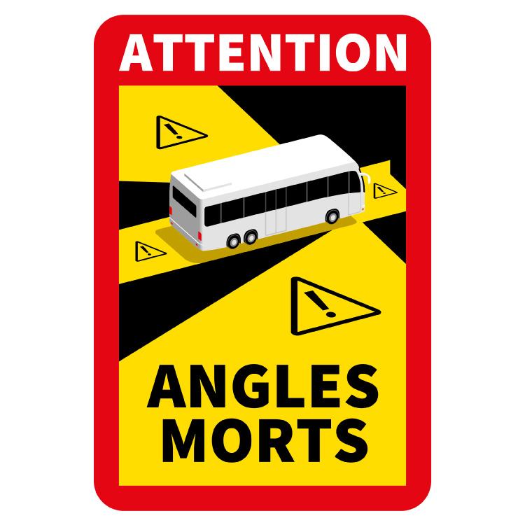 Punto ciego - Adhesivo de autobús Morts de ángulos de atención (17 x 25 cm) (Precio = IVA incluido)