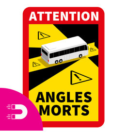 Magneetplaat Dode Hoek - Attention Angles Morts Bus (17 x 25 cm) (Prijs = incl. BTW)