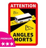 Dode hoek - Attention Angles Morts Bus PREMIUM Sticker (17 x 25 cm) (Prijs = incl. BTW)
