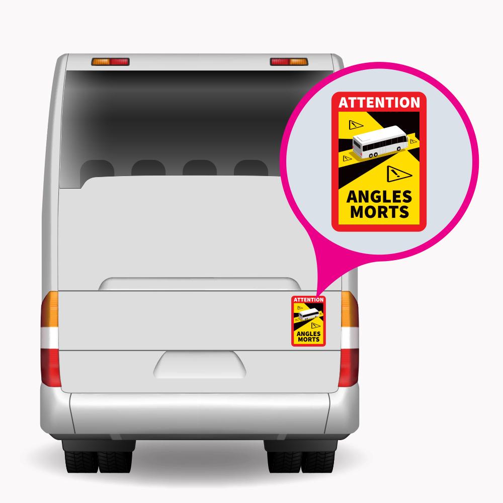 Blinder Fleck - Achtung Winkel Morts Bus PREMIUM Aufkleber (17 x 25 cm) (Preis = inkl. MwSt.)