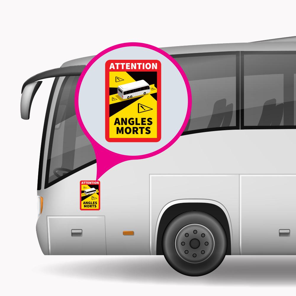 Blind spot - Autocollant Attention Angles Morts Bus PREMIUM (17 x 25 cm) (Prix = TVA incl.)