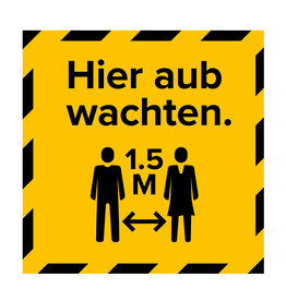Metromark + Igepa vloerlaminaat Polling station floor sticker wait here (15 x 15 CM)
