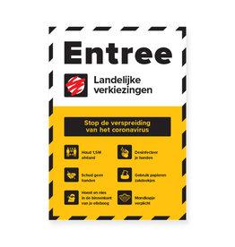 A1 poster, covid stembureau regels  Entree