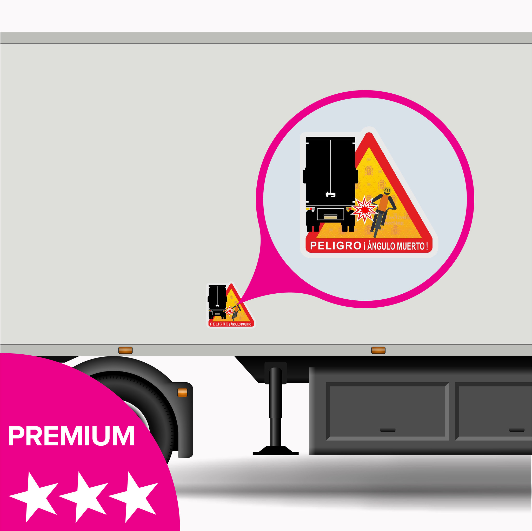 Toter Fleck - Peligro ángulos muertos Truck Spain Aufkleber - PREMIUM