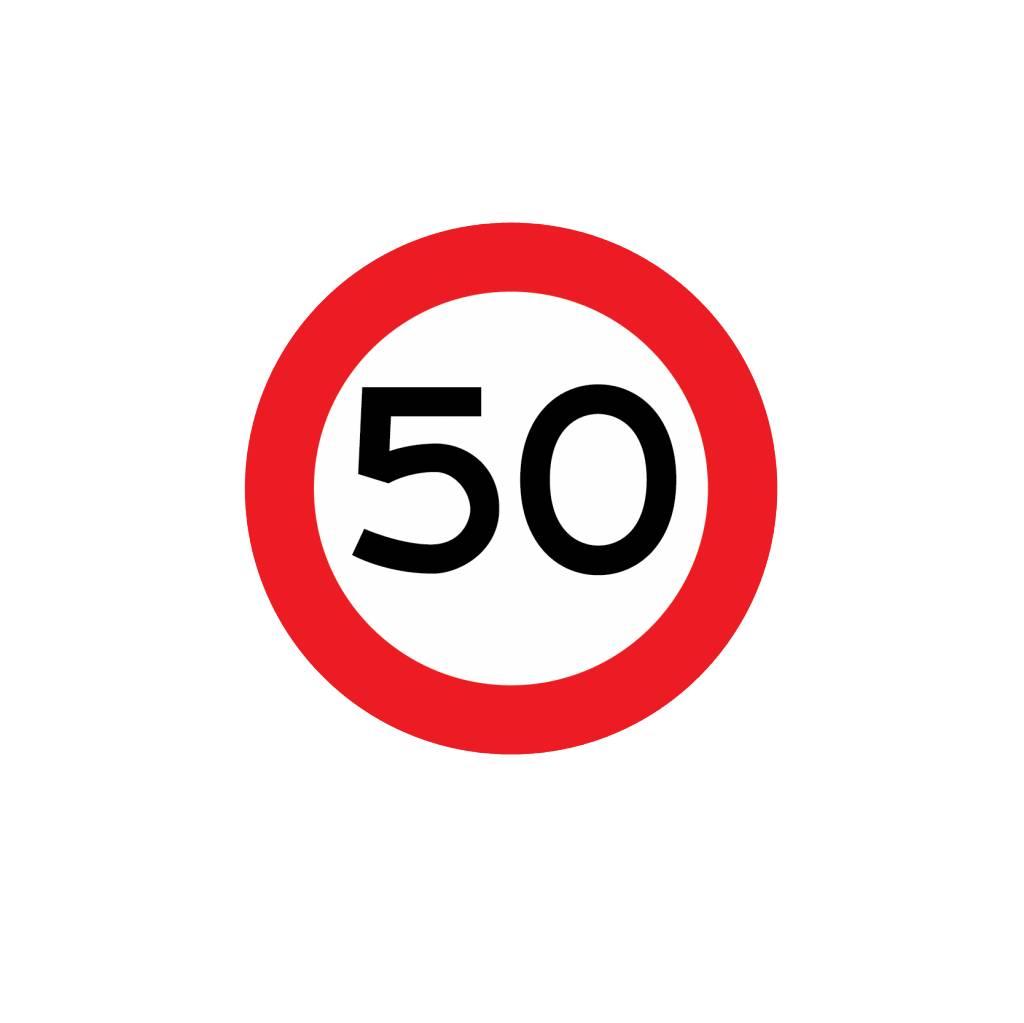 hochstgeschwindigkeit 50 km aufkleber