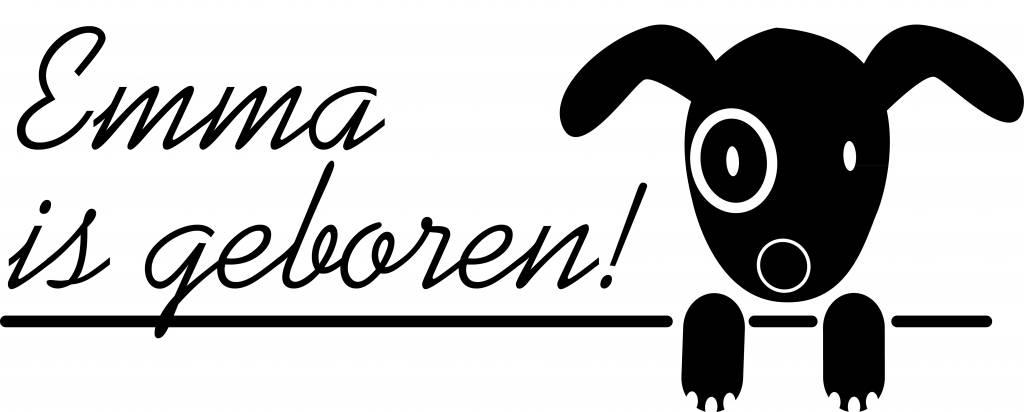 Birth Fensteraufkleber - Doggy mit Namen