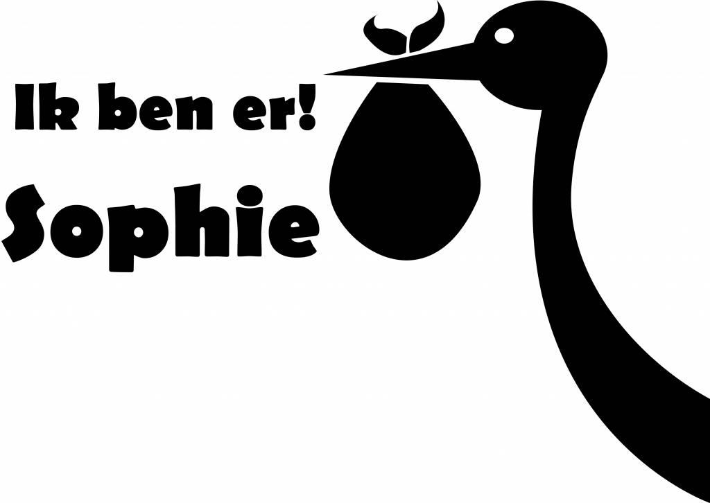 Birth Fensteraufkleber - Storch mit dem Namen