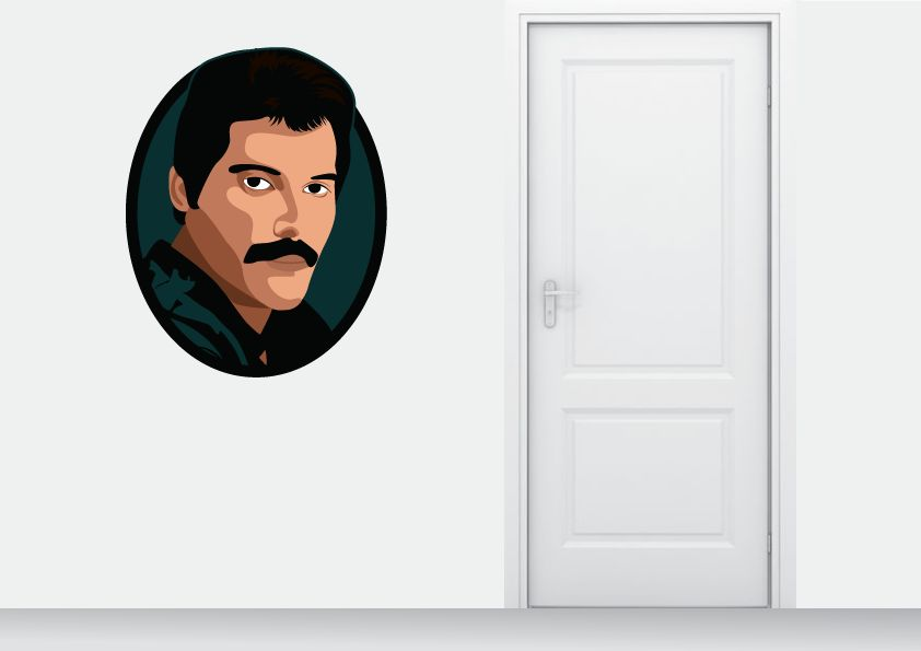 Muursticker Freddy Mercury cirkel