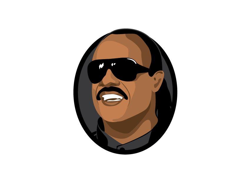 Muursticker Stevie Wonder cirkel