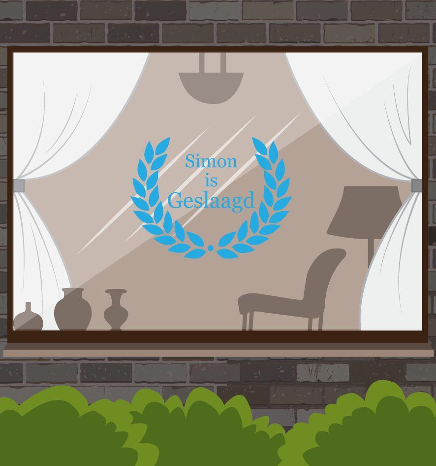 Erfolgreiche Fensteraufkleber - Kranz mit Namen, in