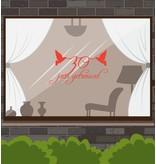 Huwelijksjubileum raamsticker - Tortelduifjes