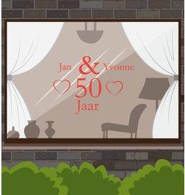 Hochzeitstag-Fensteraufkleber - Herzen