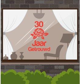 Huwelijksjubileum raamsticker - Romantische roos