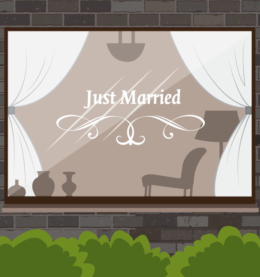 Anniversary just married with graceful ornament dr sticker