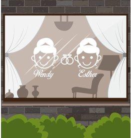 Día de la boda - la mujer y de la mujer con los anillos