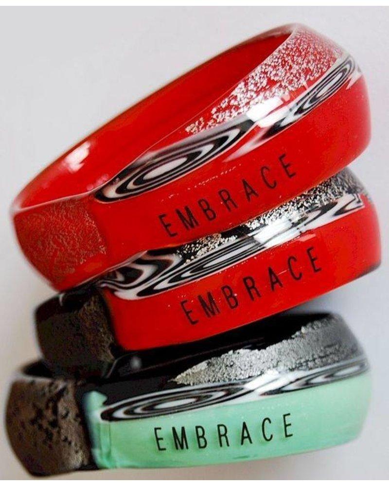 Embrace Embracelet in black/white - Red Murano Glass Ring