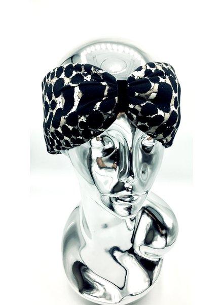 """Embrace Kopfband """"Beige dot black"""" in Schleifenoptik mit schwarzen Samtband"""