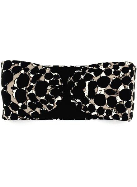 "Embrace ""Beige dot black"" headband in a loop look with black velvet ribbon"