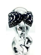 "Embrace ""Beige dot crema"" headband with loop-look and black velvet ribbon"