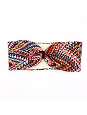 """Embrace """"Raute red creme"""" headband in a loop look with red velvet ribbon"""