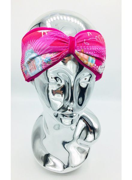 "Embrace ""Fantasy"" headband in loop-look draped with pink velvet ribbon"