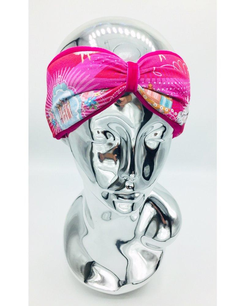 "Embrace ""Fantasy"" headband in loop-look draped with pink velvet ribbon"