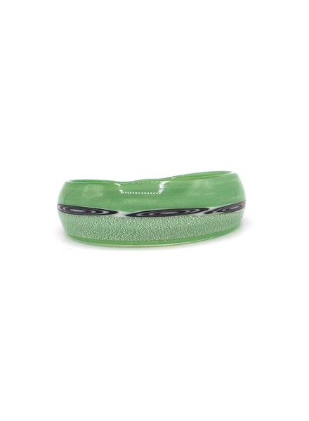 Embrace Embracelet in smeraldoverde/nero Murano Glass Ring