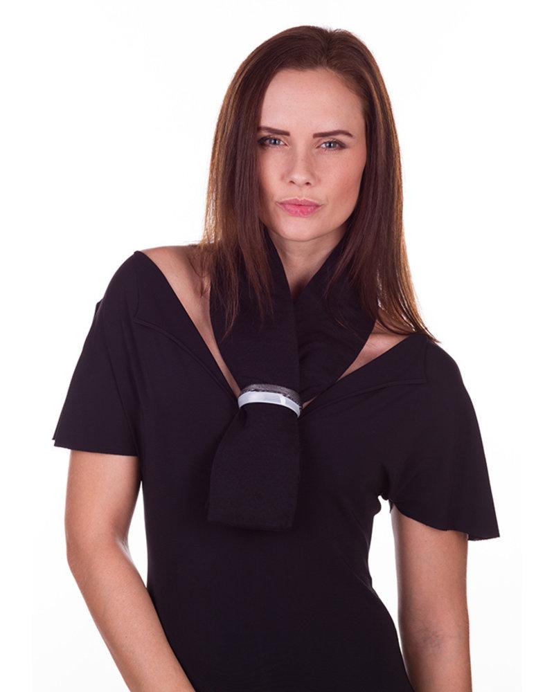 Embrace Embracelet con sciarpa in Black/White Murano Glass Ring