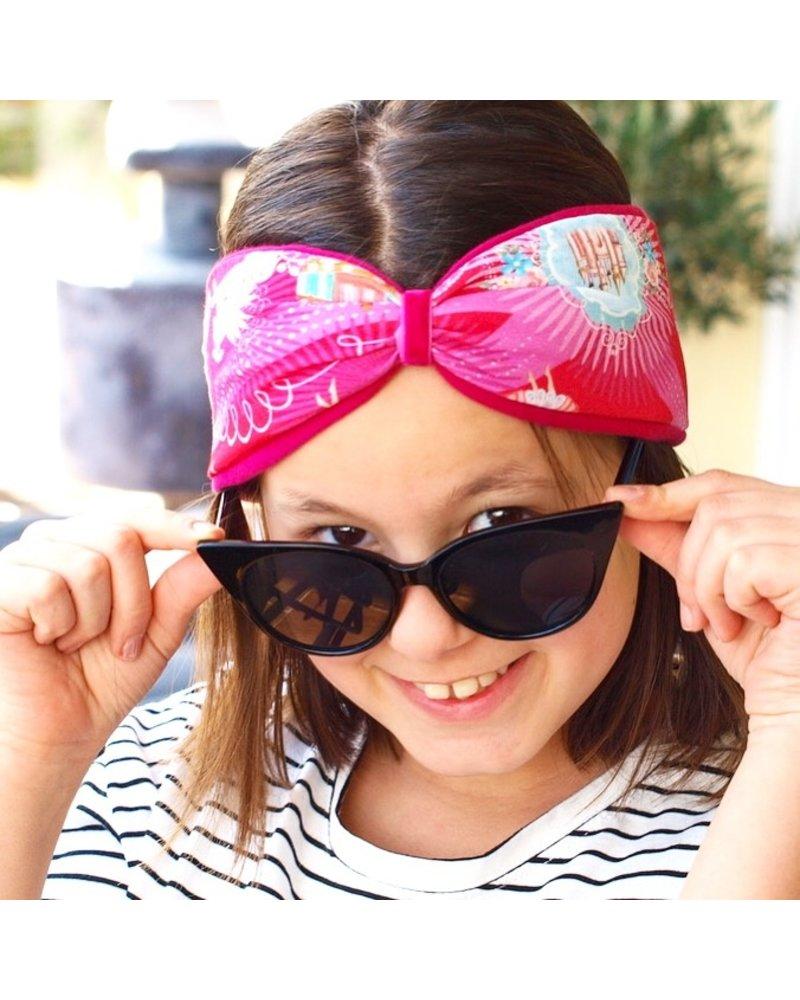 """Fantasy"" headband in loop-look draped with pink velvet ribbon"