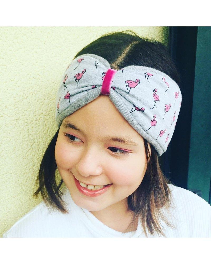 "headband ""flamingo"" in loop-look draped with rose velvet ribbon"