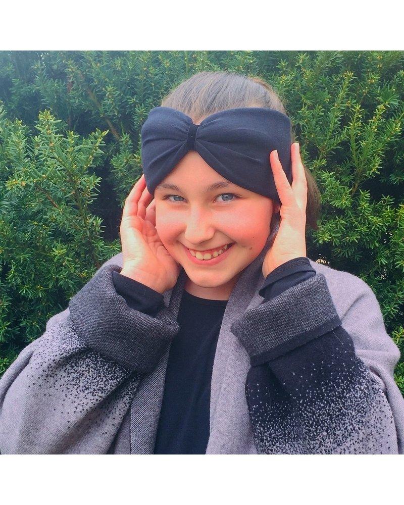 "Embrace ""Black"" headband in loop-look draped with black velvet ribbon"