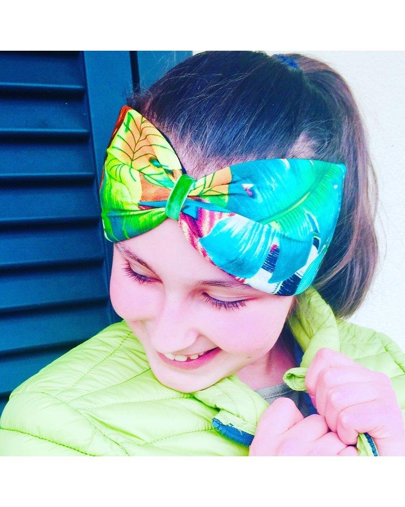 "Kopfband ""Exotic"" in Schleifenoptik drapiert mit grünen Samtband"
