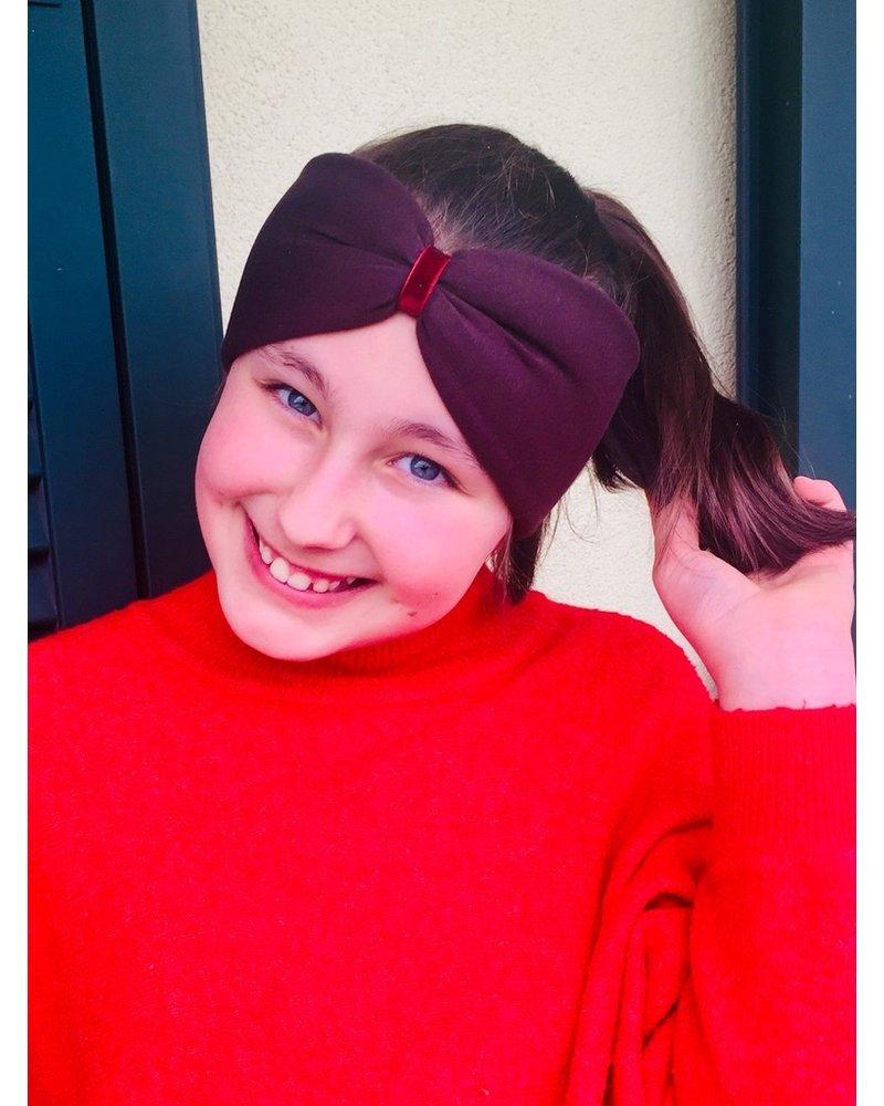 "Embrace Kopfband ""Schoko"" in Schleifenoptik mit rotem Samtband"