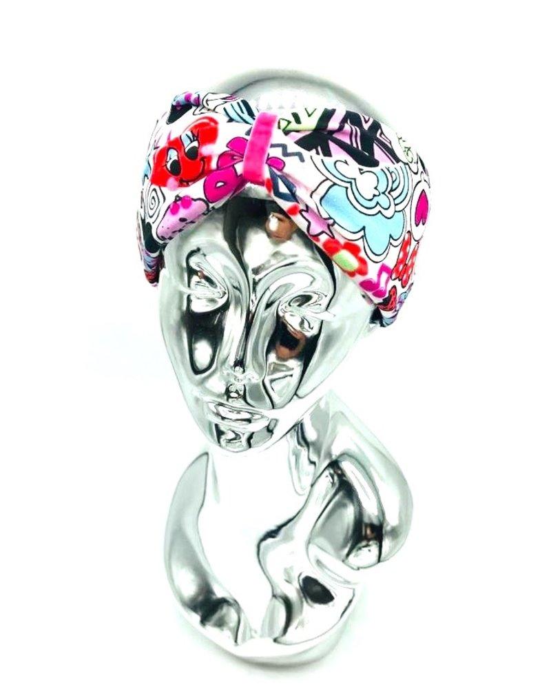 "Kopfband ""comic pop up"" in Schleifenoptik drapiert mit rosafarbenen Samtband"