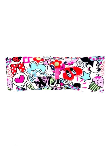 "headband ""comic po up"" in a loop look draped with rose velvet ribbon"