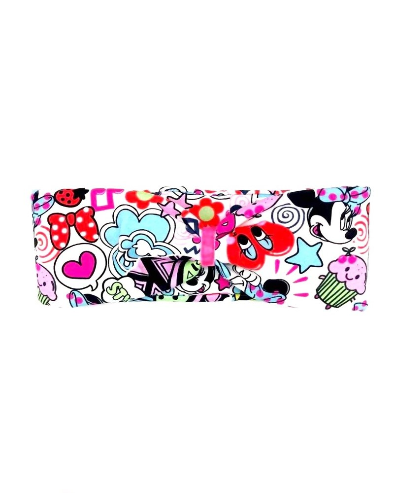 "headband ""comic pop up"" in loop-look draped with rose velvet ribbon"