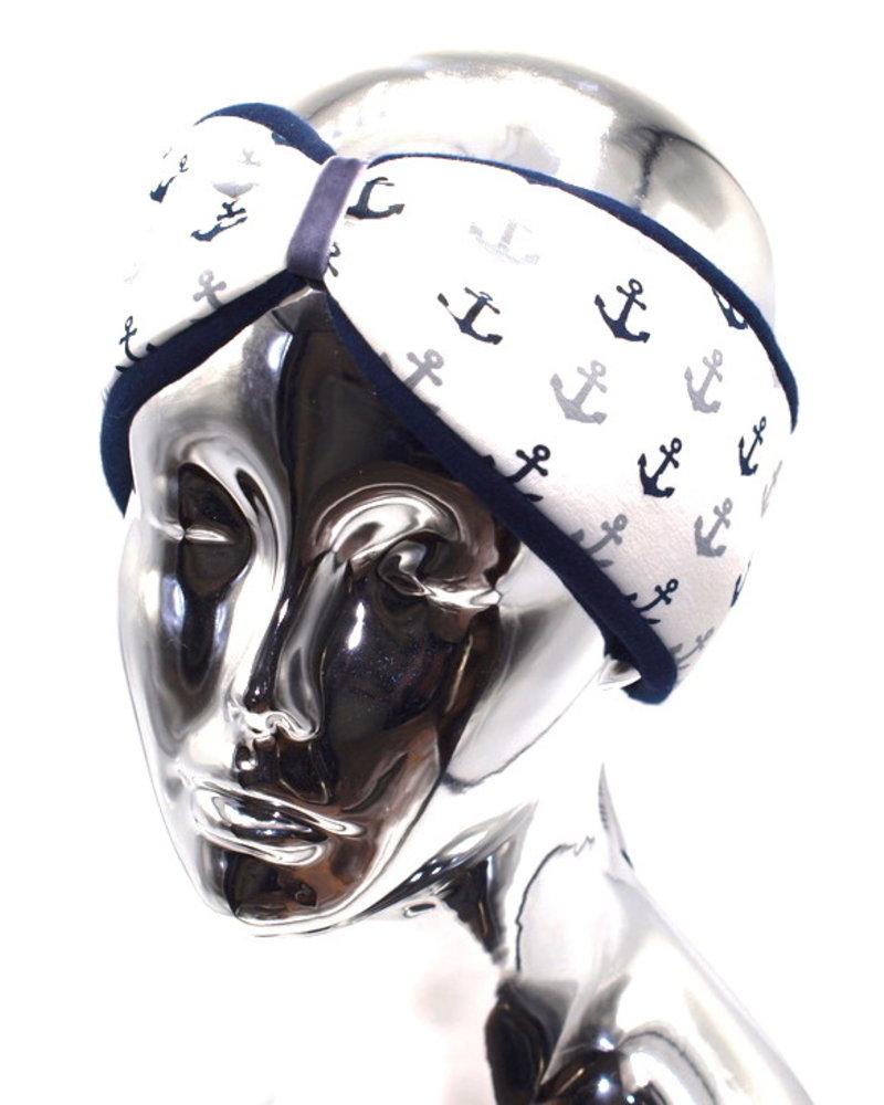 """Kopfband """"maritim"""" in Schleifenoptik drapiert mit hellgraufarbenen Samtband"""