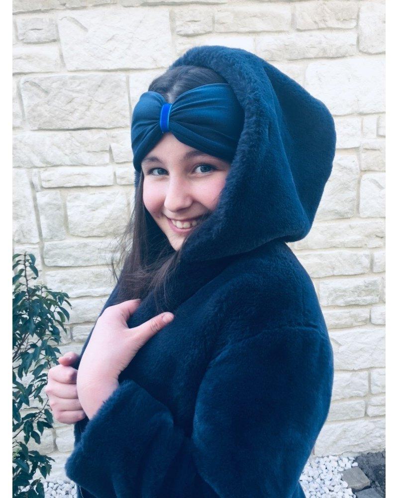 """""""Blu"""" headband in loop-look draped with royal-blu velvet ribbon"""