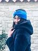 "Embrace ""Azzurro"" headband in loop-look with royal blu velvet ribbon"