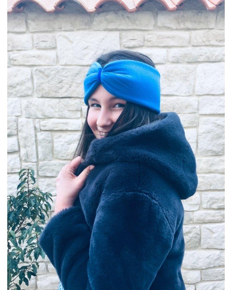 "Embrace Kopfband ""Azzurro"" in Schleifenoptik mit königsblauen Samtband"