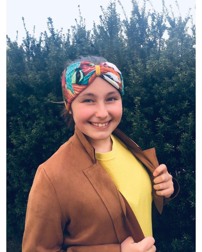 "Embrace Kopfband ""Exotic"" in Schleifenoptik drapiert mit yellow Samtband"