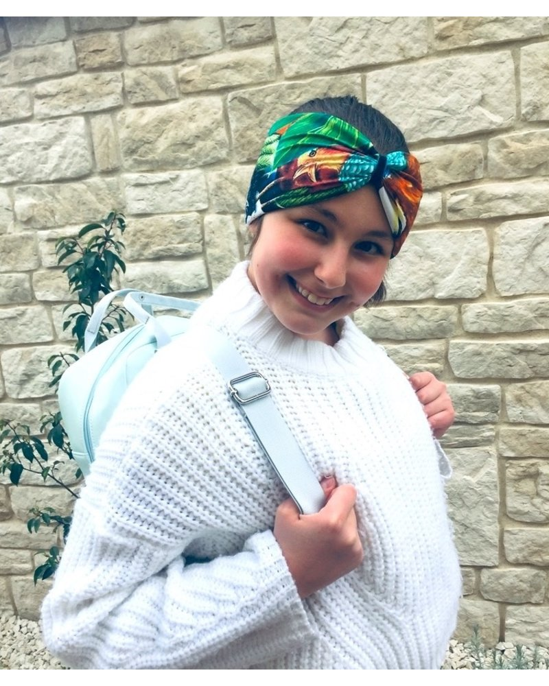 """Embrace  """"Exotic"""" headband in loop-look with blue velvet ribbon"""