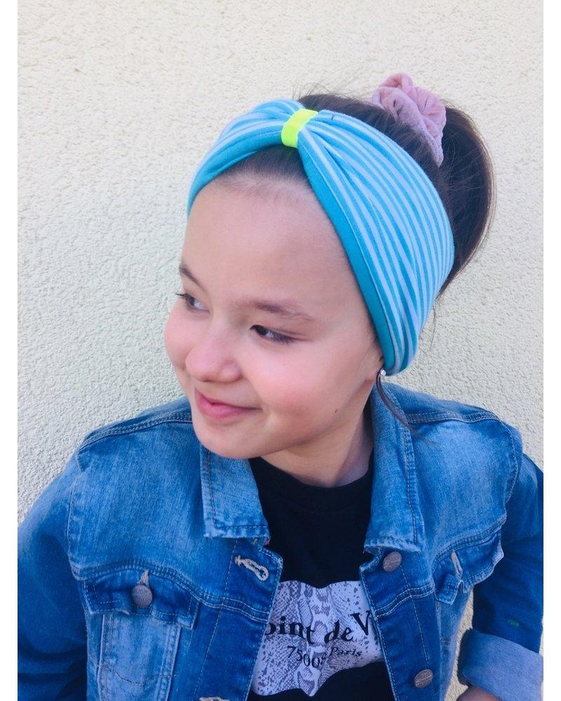 "headband ""classic stripes"" in  loop-look draped with neon yellow velvet ribbon"