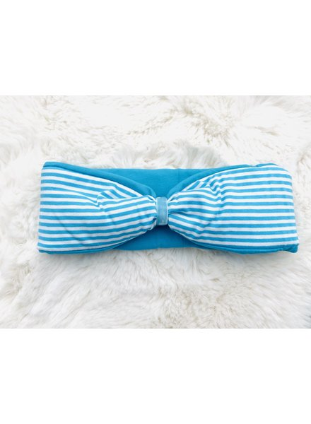 "Embrace headband ""classic stripes"" in loop-look draped with blue coloured velvet ribbon"