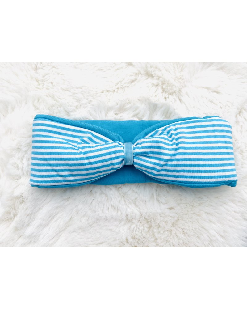 """Embrace headband """"classic stripes"""" in  loop-look draped with blue coloured velvet ribbon"""