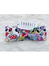 "Embrace headband ""comic pop up"" in loop-look draped with rose velvet ribbon"