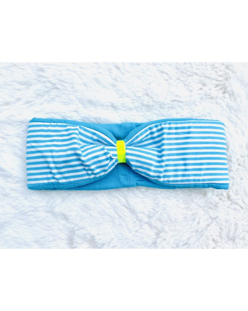 """Embrace headband """"classic stripes"""" in  loop-look draped with neon yellow velvet ribbon"""