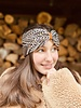 "Embrace  ""Raute Grey Creme"" headband in loop-look draped with ocher velvet ribbon"