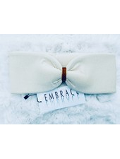 "Embrace ""Crema"" headband in  loop-look with ocher colored velvet ribbon"