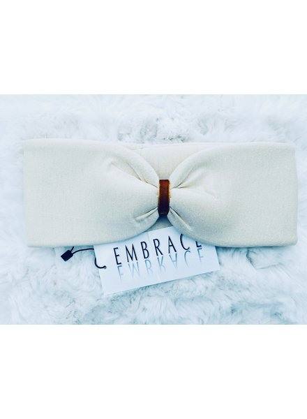 """Embrace """"Crema"""" headband in  loop-look with ocher colored velvet ribbon"""